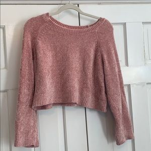 Fuzzy Cropped Pink Sweater